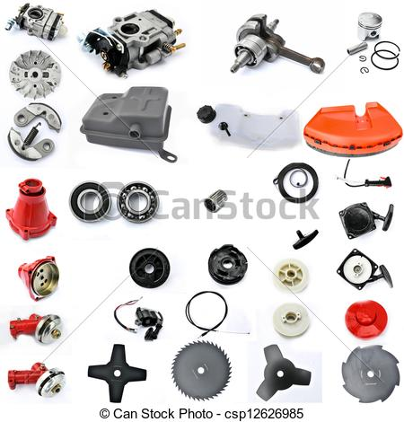 Pictures of spare parts in disassembled form, gasoline engine.