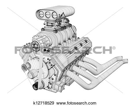 Stock Illustration of Gasoline engine k12718529.