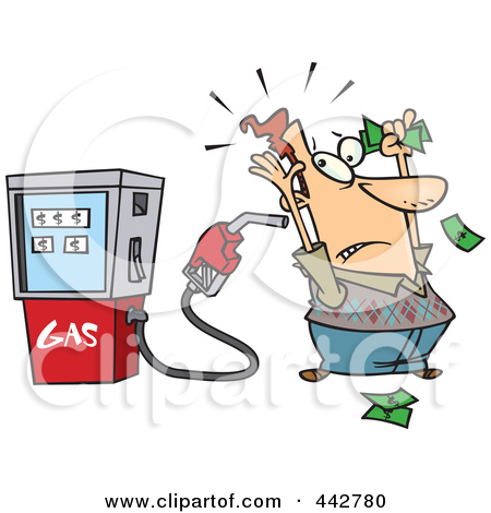 Clipart Illustration of a White Character Holding A Green Gas Tank.