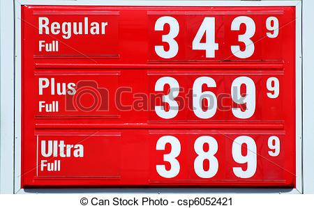 Stock Photography of High Gas prices signs.
