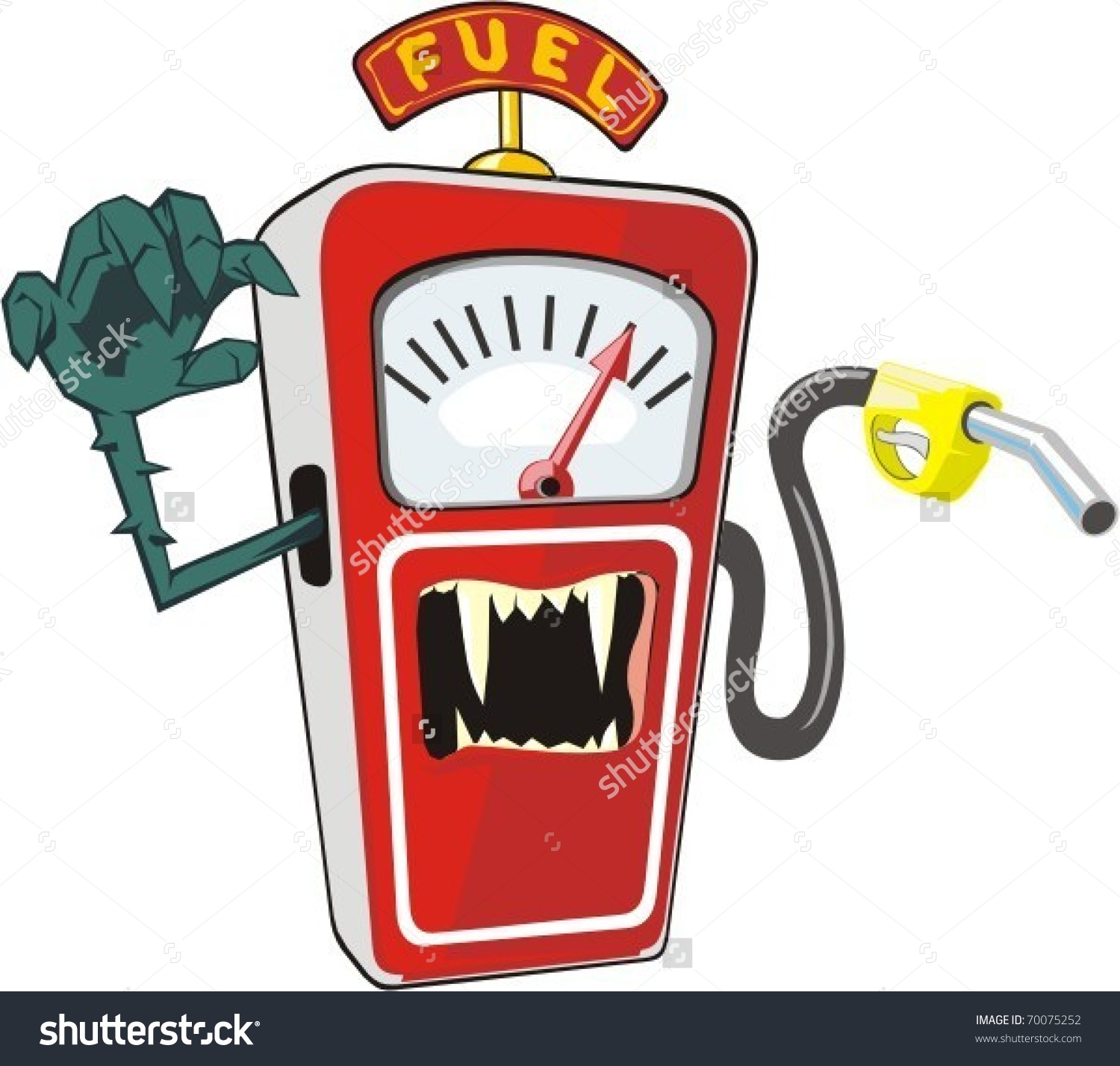 Cartoon Scary Petrol Pump Symbolizes High Stock Vector 70075252.