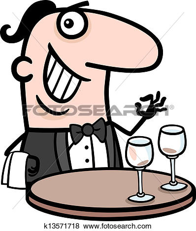 Clip Art of waiter in restaurant cartoon illustration k13571718.