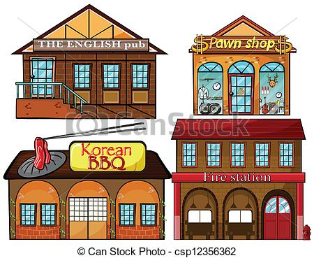 Clip Art Vektor von gasthaus, pawnshop, feuer, Kneipe, Station.