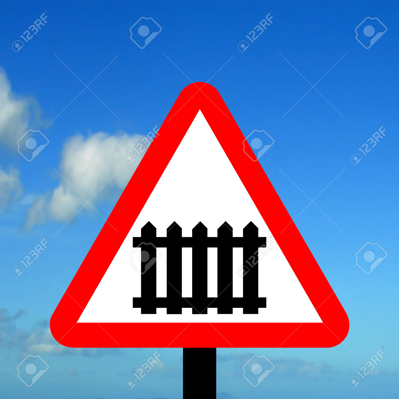 Warning Triangle Level Crossing With Barrier Or Gate Ahead Stock.