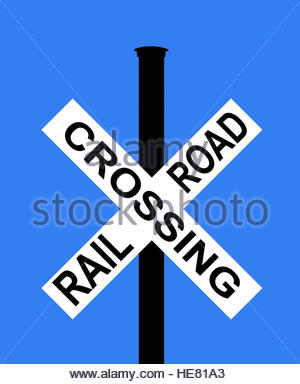 Railroad Level Crossing Road Sign Without Barrier Or Gate Ahead.