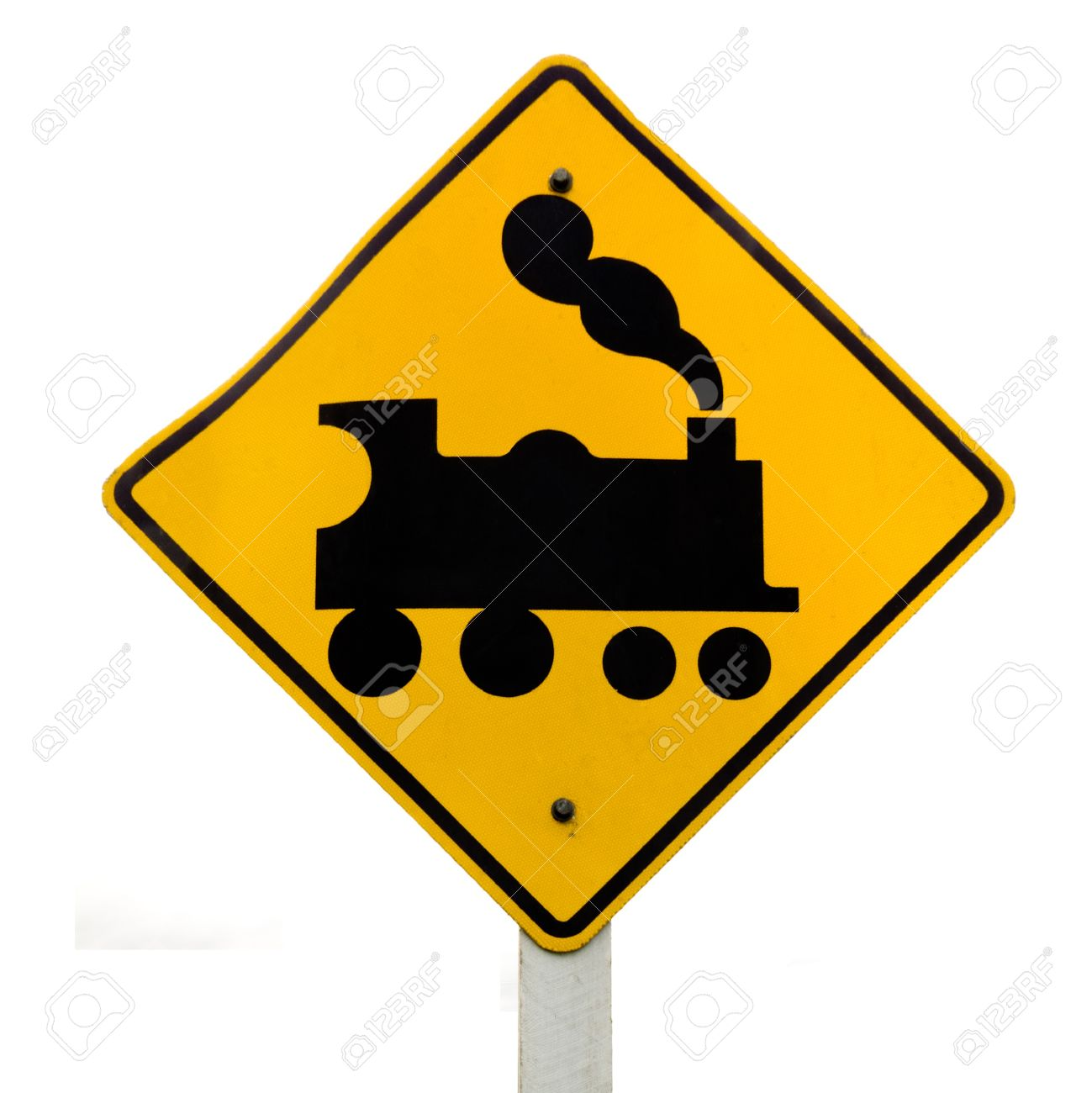 Railroad Crossing Roadsign, No Barrier Or Gate Ahead On Road.