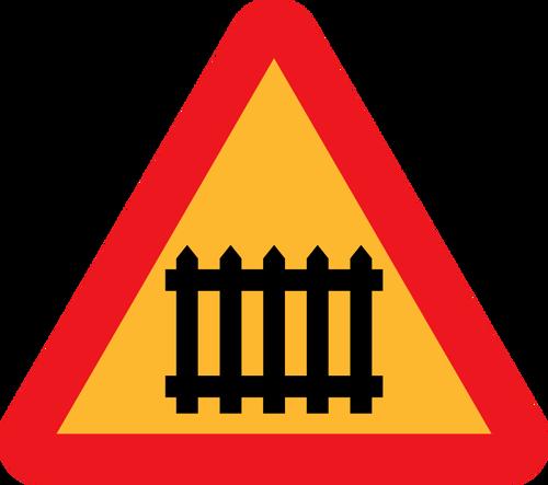 Gate ahead sign vector illustration.