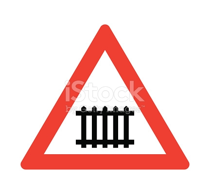 Level Crossing With Barrier Or Gate Ahead Road Sign stock vector.