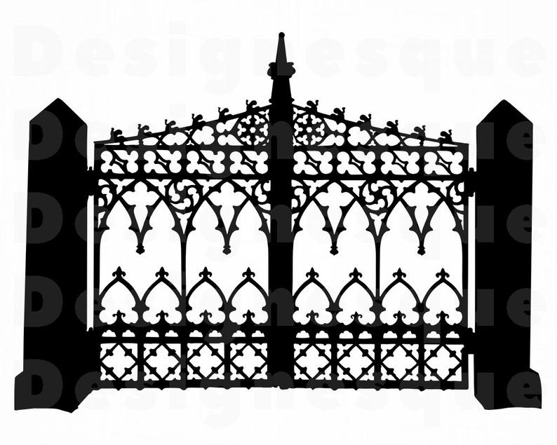 Wrought Iron Gate SVG, Iron Gate Clipart, Iron Gate Files for Cricut, Iron  Gate Cut Files For Silhouette, Iron Gate Dxf, Png, Eps, Vector.
