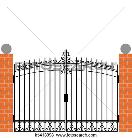 Clip Art of Iron gate k5413998.