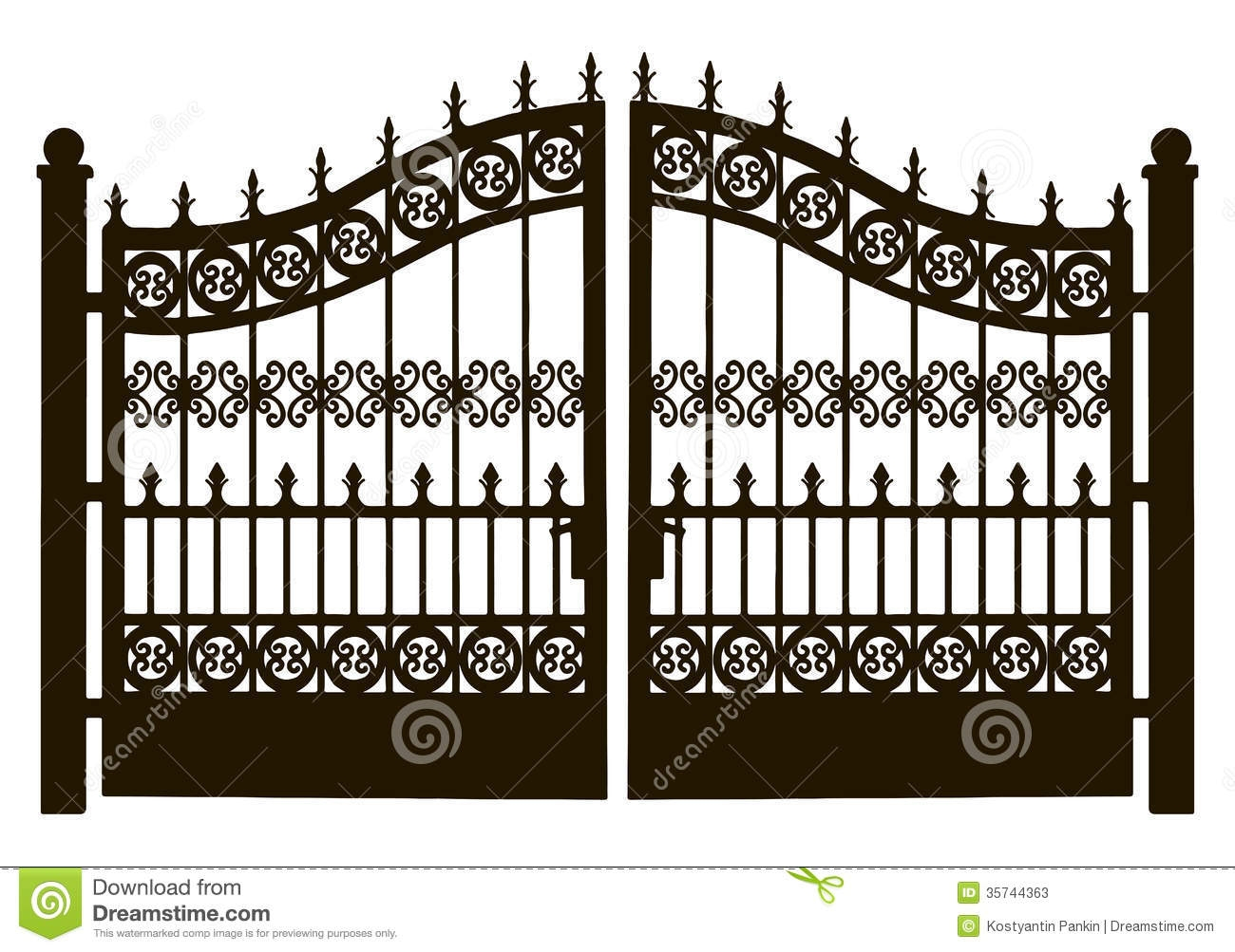 House with gate clipart.