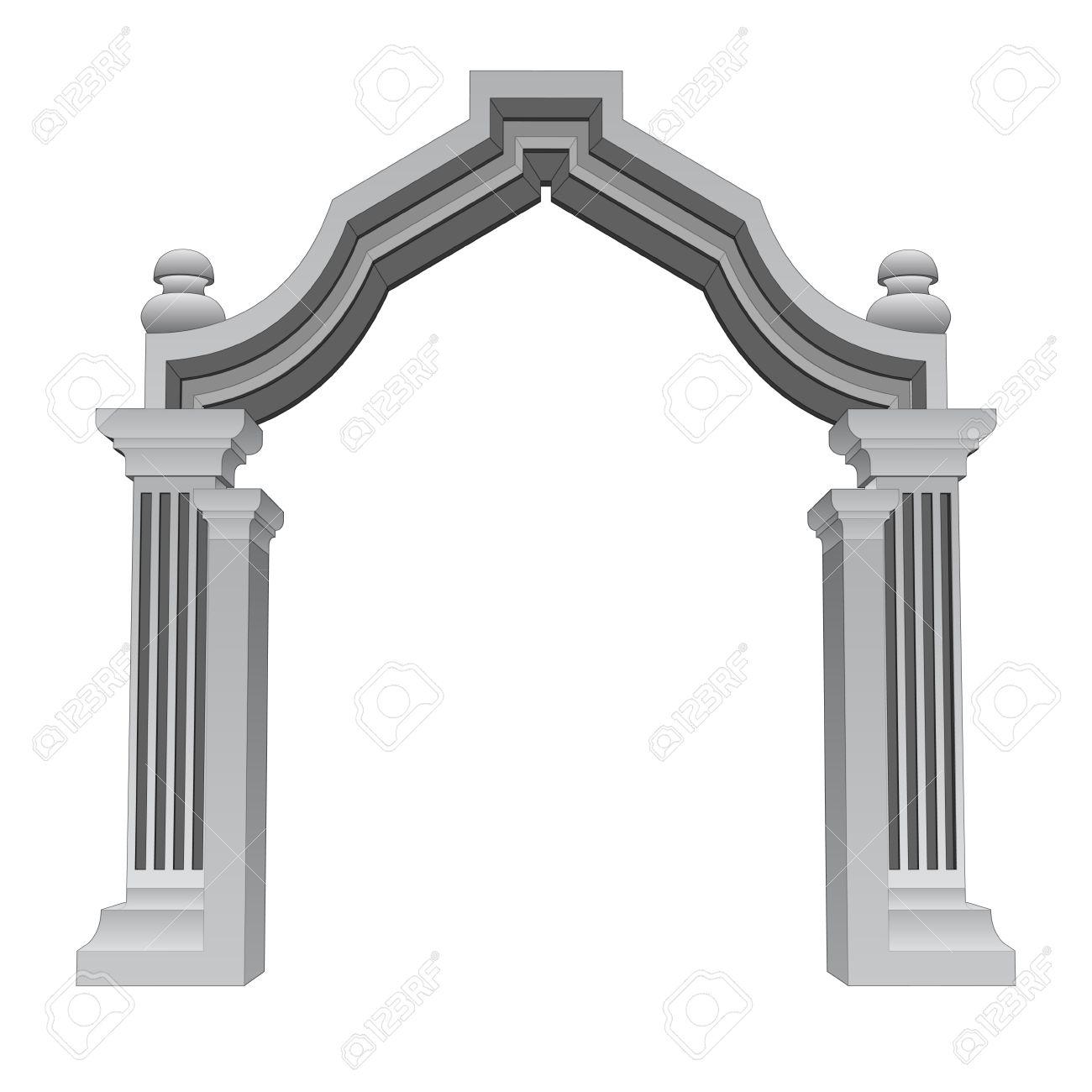 Marble Stone Baroque Entrance Gate Frame Vector Illustration.