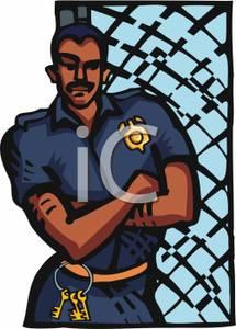 Picture: A Prison Guard Resting Against a Gate.