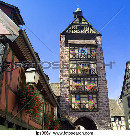 Picture of FRANCE ALSACE RIQUEWHIR DOLDER GATE TOWER 13th Century.