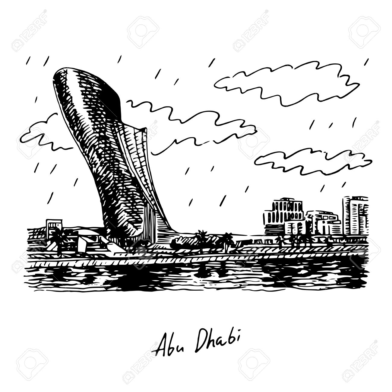 View Of The Capital Gate Tower In Abu Dhabi, UAE. Vector Hand.