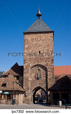 Stock Photo of tour des forgerons medevial gate tower built in.