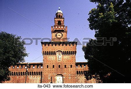 Stock Photo of Gate Tower of Castello Sforenzco Milan Italy Europe.