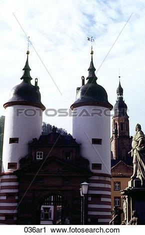Stock Photography of Gatehouse Towers Heidelburg Germany 036ar1.