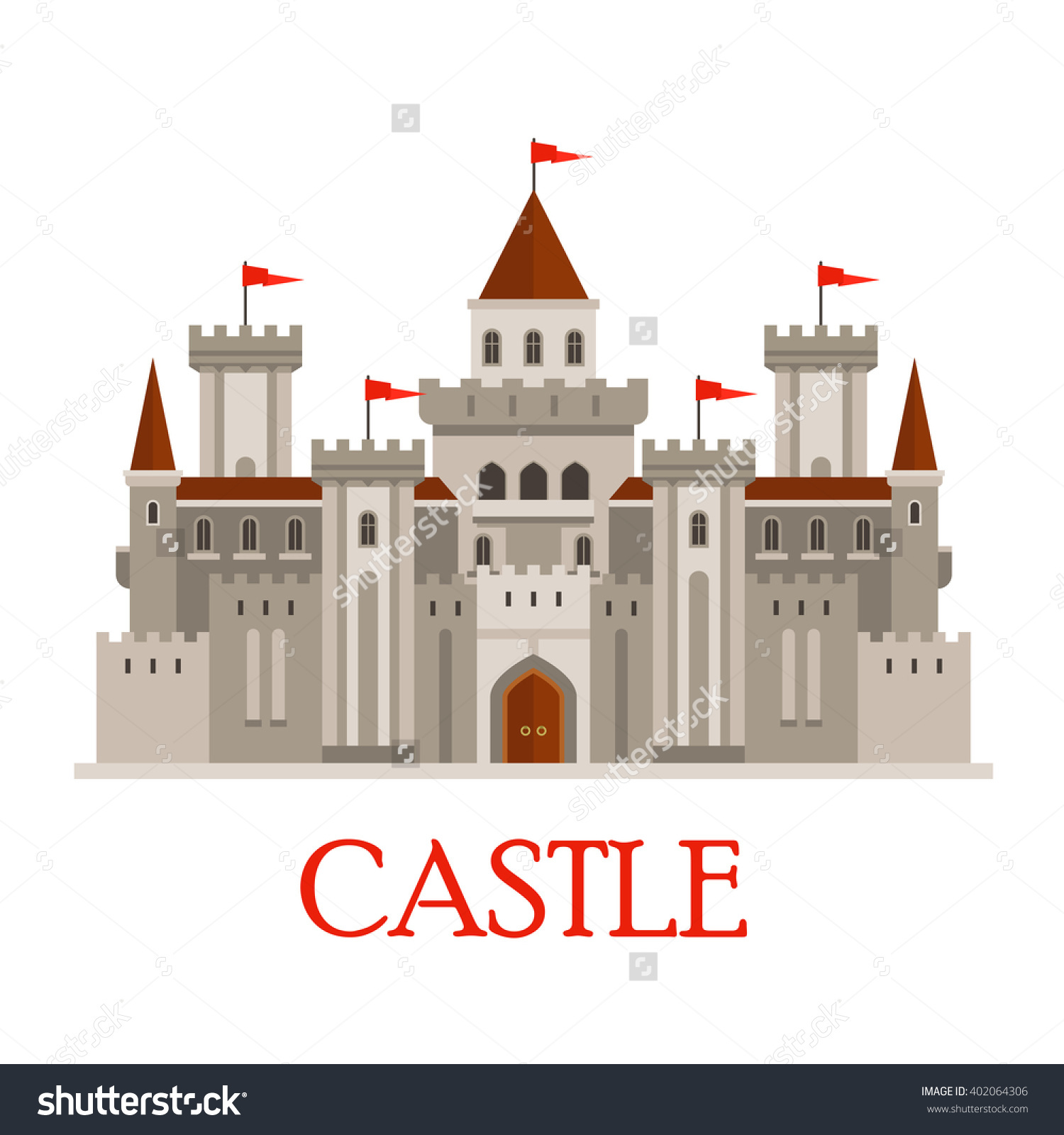 Fortified Medieval Roman Castle Gray Colors Stock Vector 402064306.