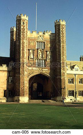 Stock Image of Gatehouse Trinity College Cambridge UK cam.
