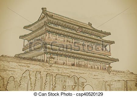 Clip Art of Beijing, China at the Zhengyangmen Gatehouse in.
