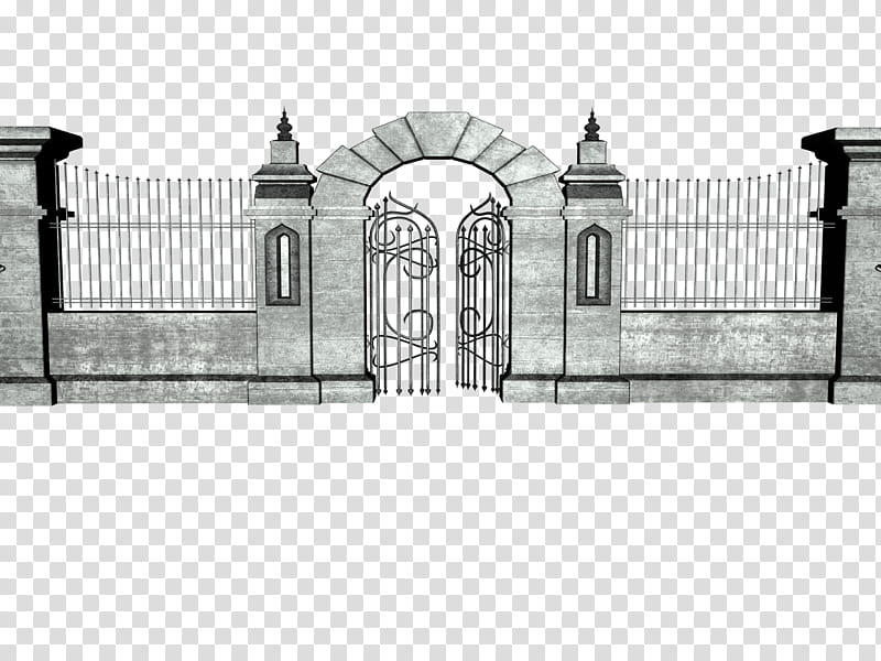Gateway , grey concrete gate illustration transparent.