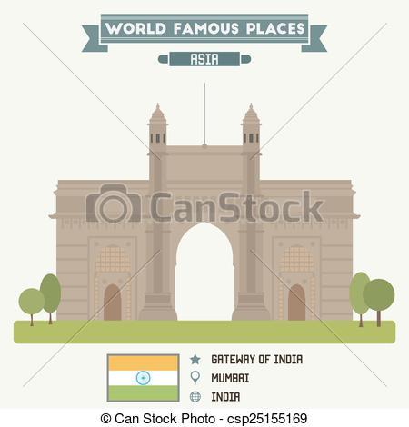 Clip Art Vector of Gateway of India. Mumbai, India csp25155169.