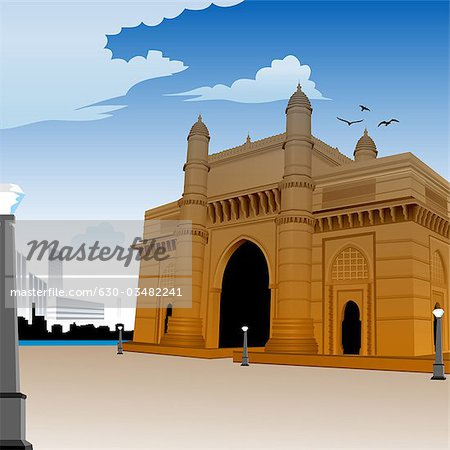 Facade of a monument, Gateway Of India, Mumbai, Maharashtra, India.