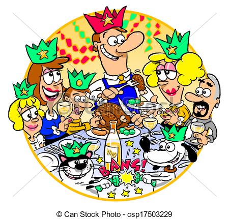 Clip Art of Family Christmas Dinner.