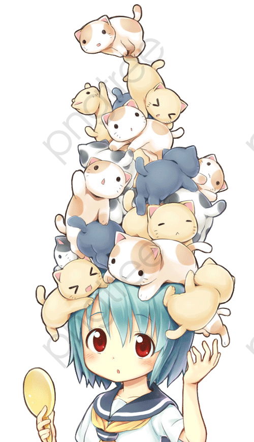 Anime Girl Head Cat, Head Clipart, Cat Clipart, Lovely PNG.