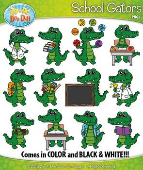 School Gator Characters Clipart {Zip.