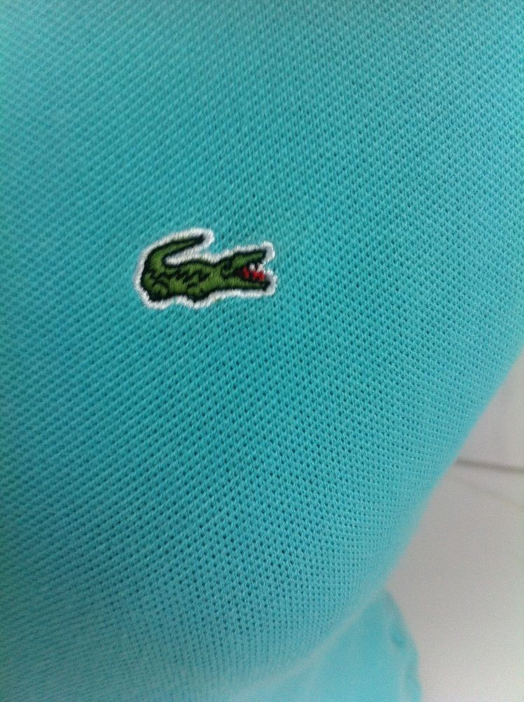 LACOSTE Teal Polo Shirt 38 (6) Small Short Sleeve Gator Logo.