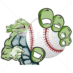 Mascot Clipart Image of A Gator Holding A Basketball In Its Mouth.