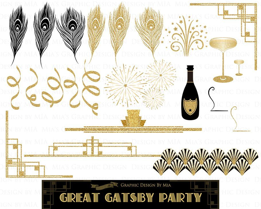Great Gatsby, Glitter Gold, 1920 #poque#Clipart#Belle#Art.