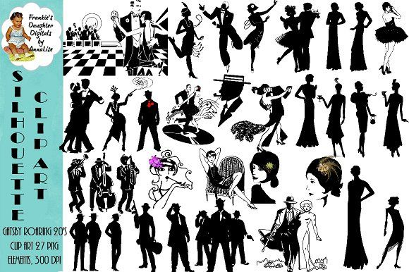 Gatsby Flapper & Mobster ClipArt.