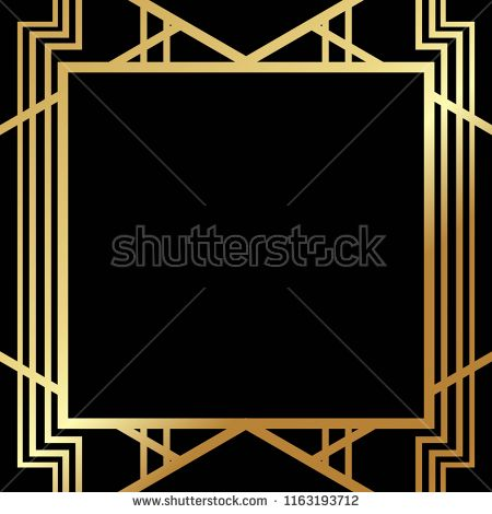 Art Deco Gatsby inspired, Roaring 20s style frame template.