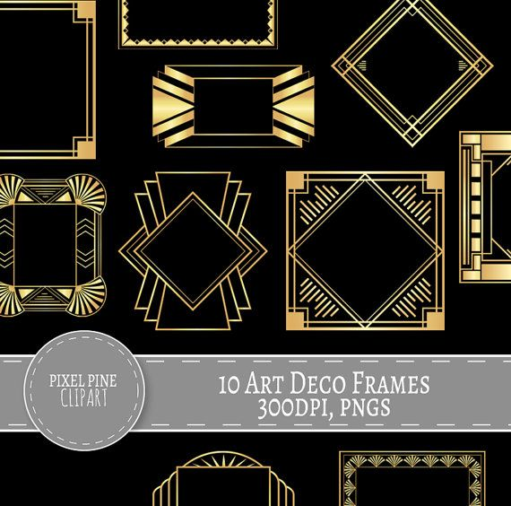 Art Deco Frames Black and Gold, 10 PNGs, Commercial Use.