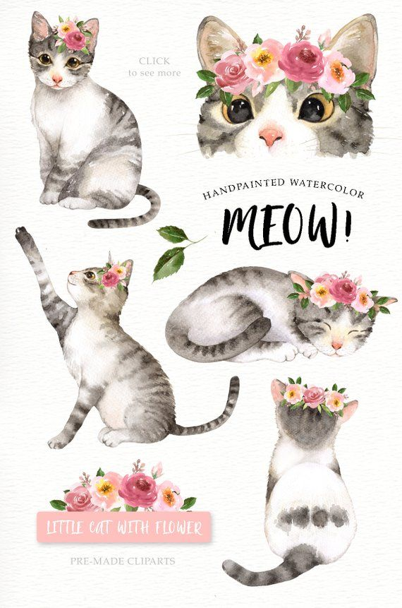 Meow! Gatto amante acquerello Cliparts, Woodland animali.