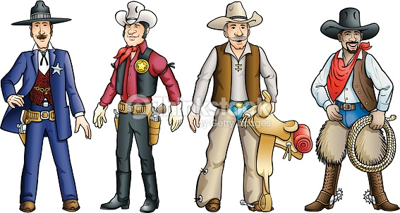 Cowboys Of The Old West Vector Art.