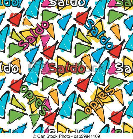 Clip Art Vector of Gaudi mosaic pattern and word Barcelona.