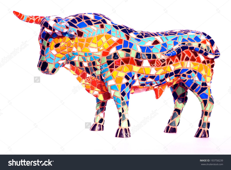 Miniature Multicolored Statue Bull Gaudi Style Stock Photo.
