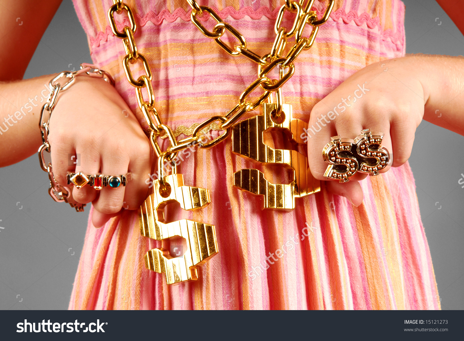Young Girl Wearing Gaudy Hip Hop Stock Photo 15121273.