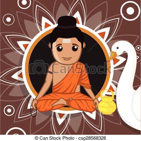 Vector Illustration of Gautam Buddha Cartoon Character Vector.
