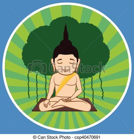 EPS Vectors of Gautama Buddha Concentration Vector Illustration.