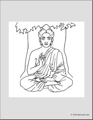 Clip Art: India: Siddhartha Gautama (coloring page).