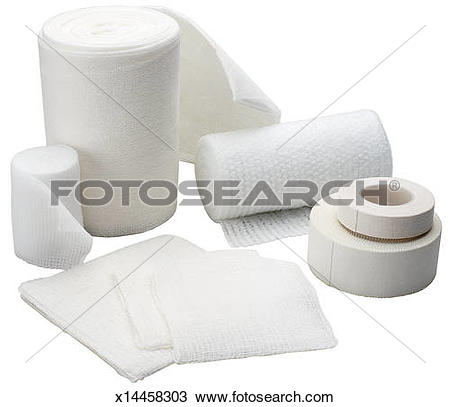 Stock Photo of Gauze bandages with tape, assorted x14458303.