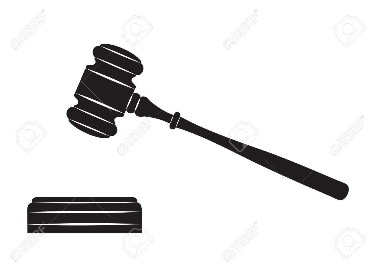 Judge gavel Black silhouette on white background.