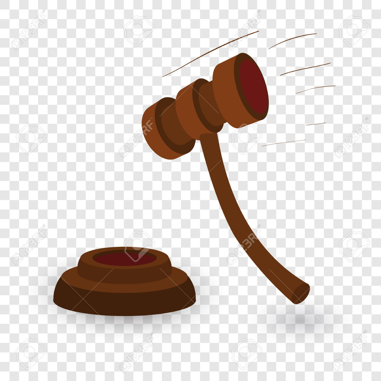 Gavel cartoon illustration. Single symbol on transparent background.