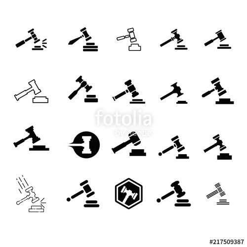 Gavel logo. Justice icon. Law symbol. Vector eps 08.\