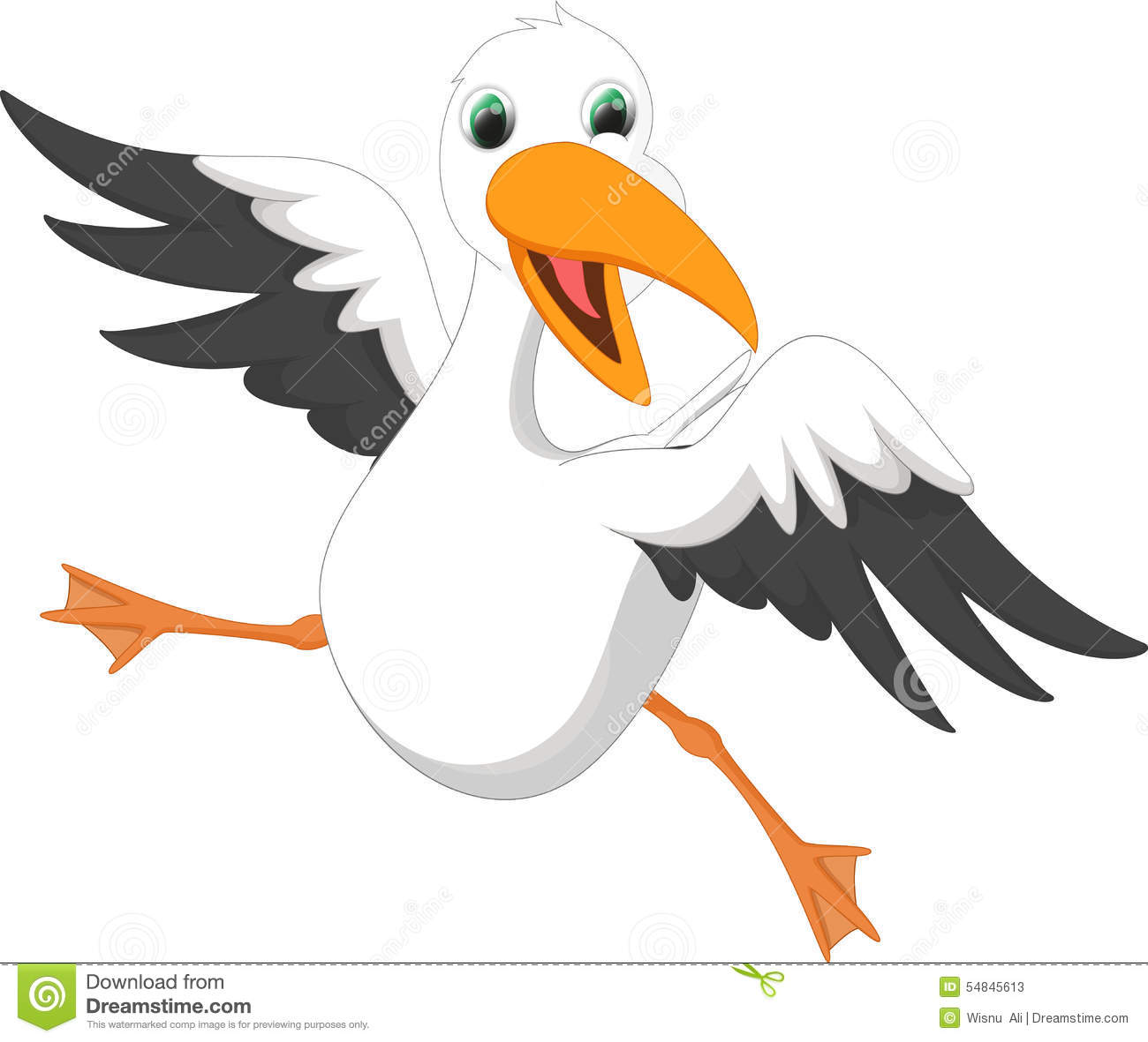 Seagull Cartoon Stock Vector.